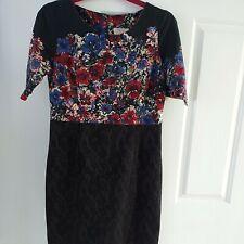 Next Petite Multi-coloured Floral Short Pencil Dress UK 14