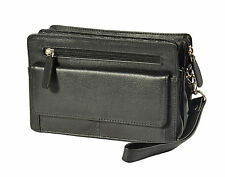 Mens leather wrist bag clutch money cab gents casual pouch organiser bag BLACK
