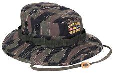 Men's Tiger Stripe Camo Embroidered VIETNAM VETERAN Boonie Bucket Hat S - XL NWT