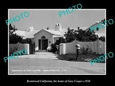 OLD POSTCARD SIZE PHOTO BRENTWOOD CALIFORNIA, THE HOME OF GARY COOPER c1930
