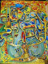 Raphael Abecassis Hand Signed Serigraph  Chai Decopage Jewish Judaica Art