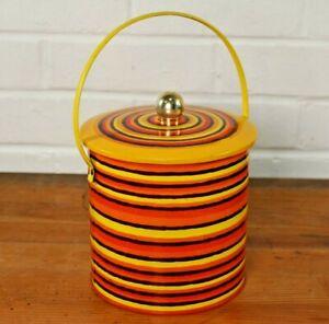 Original Vintage 1960s Baret Ware Striped Biscuit Tin Hoops B5 Design Retro MCM