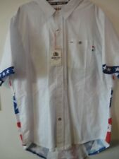 NWT BORN FLY MEN'S Short Sleeve WHITE PATRIOTIC Button up shirt Sz 3XL MSRP $69