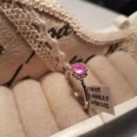 Madagascar Hot Pink Sapphire Solitiare ring in Platinum over Sterling Silver