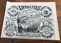 1897 large printed advert for liptons tea gardens ceylon !
