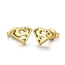 18k Gold Gold Plated Superman Logo Ear Stud Earrings Stainless Steel Jewelry