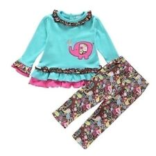 New Long Sleeve Top Baby Girl Outfit Trousers Birthday Party Kids Clothes UK