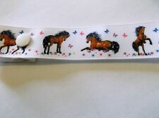 BABY BOY GIRL HORSE PONY butterfly white 22mm ggrain ribbon DUMMY CLIP stable