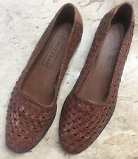 TROTTERS 6.5M Woven Leather Saddle Tan Slip-on Flat Shoes Brazil Excellent  Cond