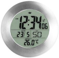 Semper Bathroom Radio Clock Wall Clock Silver Grey 17 cm Diameter