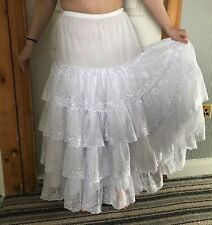 Beautiful ankle length White cotton petticoat with 4 tiers of luxurious lace