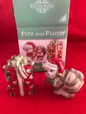Fitz and Floyd Kitty Kringle Cat Christmas Holiday Salt & Pepper Shaker Set NIB