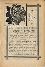 Stampa antica pubblicità STABILIMENTO AGRARIO LONGONE Milano 1895 Antique print