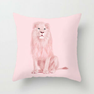 Pink Lion Cushion Cover, Blush Pink, Pale, tropical, Baby, Luxury, cat, teen