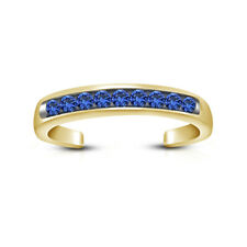 Toe Ring In 14K Yellow Gold Over Blue Sapphire Open Back Channel Set Adjustable
