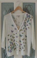 LAURA ASHLEY Butterfly Print Fine Knit Linen Cardigan 3/4 Sleeve Size 16 BNWT