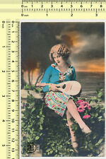 #051 Woman with Mandolin Lady Female Color Tinted Hand Colored old postcard