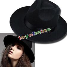 Vintage Unisex Wide Brim Wool Felt Floppy Cowboy Fedora Hat Bowler Trilby Cap