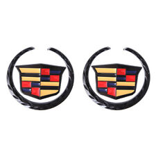 2x Gloss Black Colorful Cadillac L&R Fender Emblem for Escalade AT CT DT XTS SRX