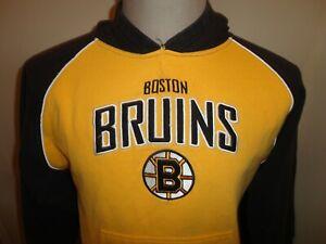 Sewn Reebok Boston Bruins NHL Gold Black 80-20 Hooded Hoodie Sweatshirt Youth L