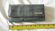 Kenneth Cole Reaction Gray/Blue Tri Fold Wallet Clutch Purse Sleek