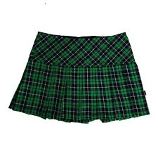 Tripp NYC 80s 90s Gothic Goth Punk Green Tartan Plaid Pleated Mini Skirt Size XL