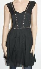 OASIS Designer Black Gold Studded Sleeveless Day Dress Size 10-S BNWT #sX74