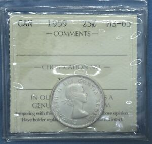 Canada 1959 - Silver Quarter - Graded MS-65 by ICCS