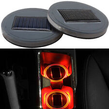 2x Red Car Solar Cup Holder Bottom Pad LED Light Cover Trim Atmosphere Lamp