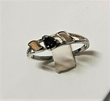 Antique Jewel Ring Ring T55 Silver 805 Hallmark Vermeil Black Sapphire/G3