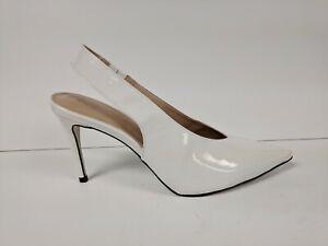 Massimo Matteo Pointy Toe Back Strap, White Patent, Womens 9