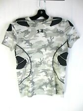 Under Armour Football Camo Black Padded Short Sleeve Shirt- Fitted Size YXL