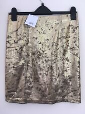 Bnwt Ladies Gold Crushed Velvet Mini Skirt Size 12 By Topshop New