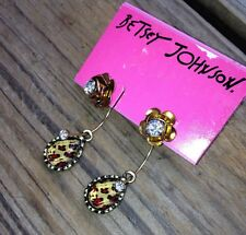 Betsey Johnson Animal Print Convertable Earrings