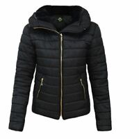 New Women Ladies Puffer Padded Quilted Plain Zipped Jacket Coat Plus Size 6-5XL