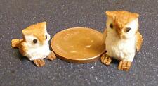 1:12 Polymer Clay Parent & Baby Brown Owl Dolls House Miniature Garden Bird C