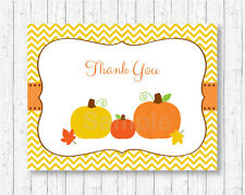 Pumpkin Chevron Gender Neutral Thank You Card Printable