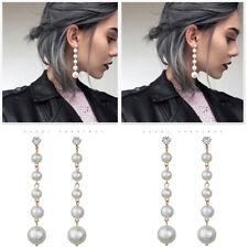 Women Elegant Big Pearl Long Tassel Dangle Earrings Crystal Stud Drop Jewelry
