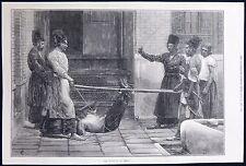 BASTINADO FOOT WHIPPING PERSIA IRAN CORPORAL PUNISHMENT TORTURE PRINT 1872