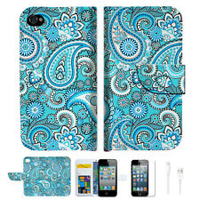 Seamless pattern with paisle Wallet Case Cover For Apple iPhone 4 4S -- A022