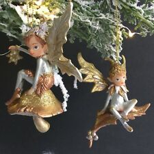 Gisela Graham 2018 Pixie on Leaf Christmas Tree Decoration Gold Silver Fairy