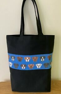 BOXER DOG 'Bag For Life' Strong Black Canvas shopper. Choice of Boxer Fabric