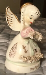May Angel A1365 Green Bow Flowers Gold Figurine Damaged
