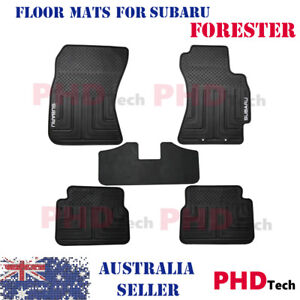 All Weather Rubber Car Floor Mats for  Subaru Forester 2008-2013 w/ White LOGO