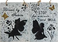 Set Of 2 Fairy Hanging Wall Plaques - Garden / Home