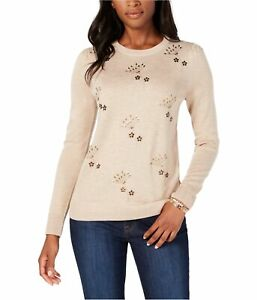 Tommy Hilfiger Womens Embellished Pullover Sweater, Brown, X-Small