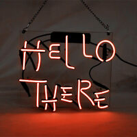 """10""""x10""""HELLO THERE Neon Sign Light Party Home Room Wall Decor Visual Artwork"""