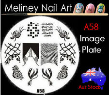 A58 Stamping Nail Art Image Plate Design Round XL Stencil metal