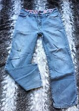 Vintage 90's Mod Scooter mens Lambretta Faded Denim Pre Ripped Patch Jeans 34 W
