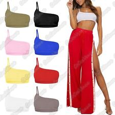 New Ladies One Shoulder Strappy Plain Bralet Stretchy Cami Vest Crop Bra Top